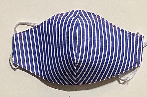 blue stripes with plaid mask