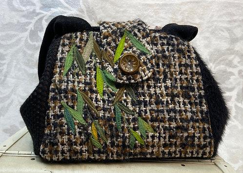 black & brown nubby wool dot willow bag