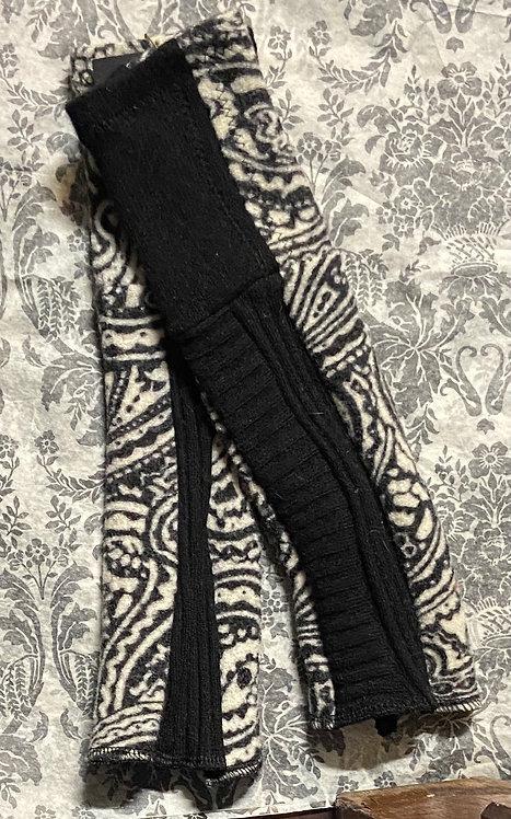 black and white boiled woo and merino gloves II