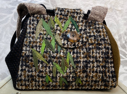 black and brown weeping willow dot bag