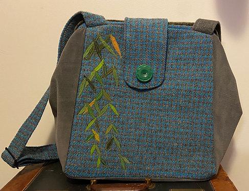 blue and grey harris tweed backpack