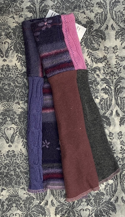 chunky pink and purple wool and cashmere gloves