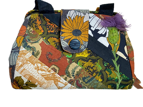 linen and cotton Evelyn bag, blacks and greens