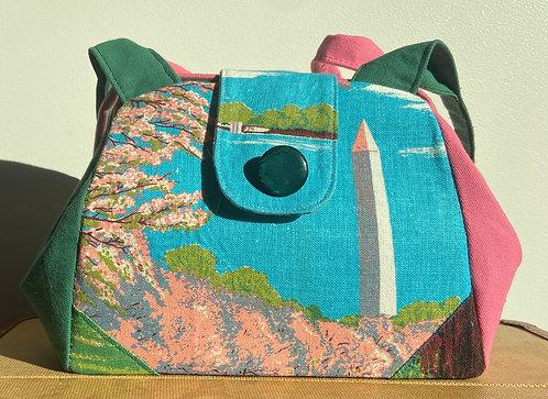 Washington DC Tea towel bag with cherry blossoms (dot)