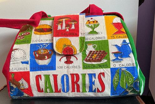 "Vintage tea towel ""calories"" Evelyn bag"
