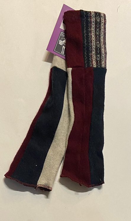 wine, navy and pale grey print fingerless gloves