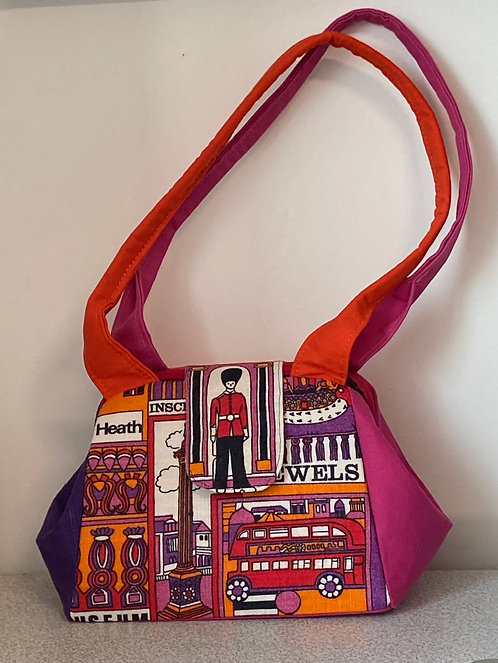 pink, orange and purple tea towel bag- London