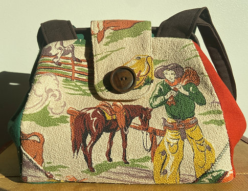 Fabulous barkcloth cowboy dot bag