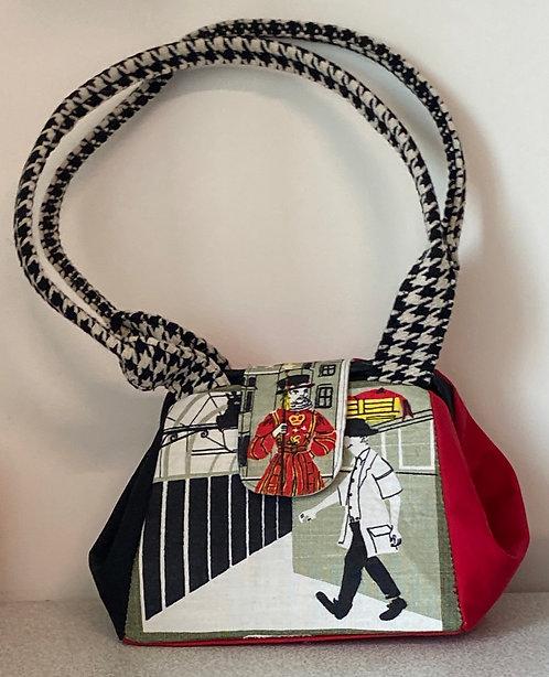 b & w & red- tea towel bag