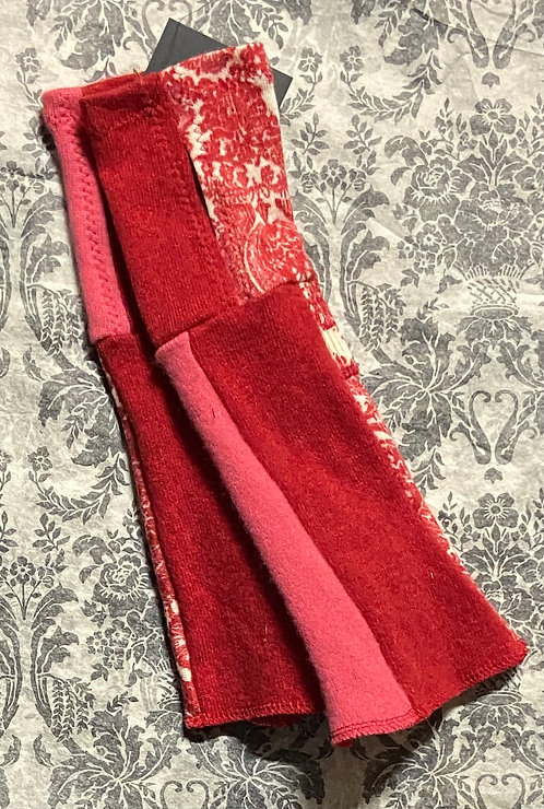 red, pink and coral cashmere gloves