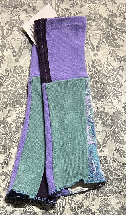 paisley, purple and light teal gloves