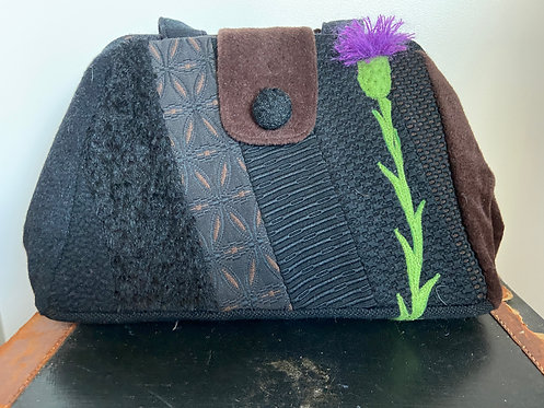 wool and brocade, black and brown Evelyn bag