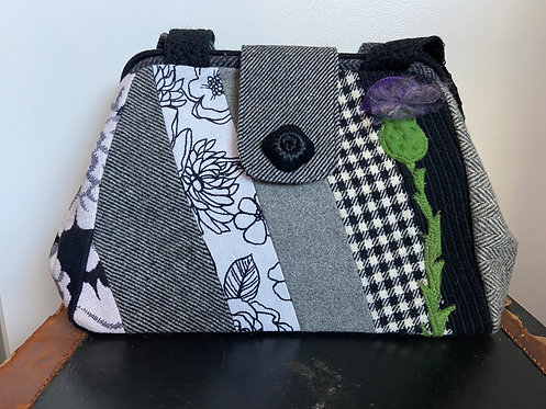 black and white evelyn bag with corded old button