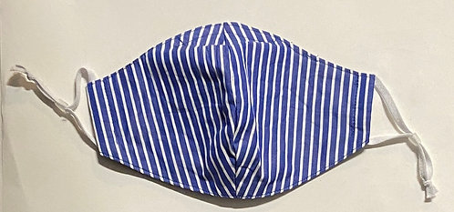 blue and white cotton shirting mask
