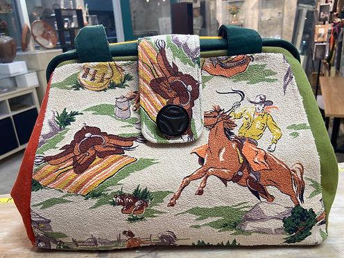 Fabulous barkcloth cowboy Evelyn bag