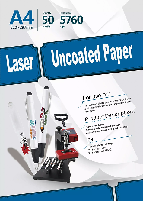 Transfer Paper A4 Laser Uncoated Pack of 10