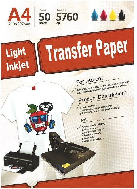 A4 Light Inkjet Transfer Paper Pack of 10