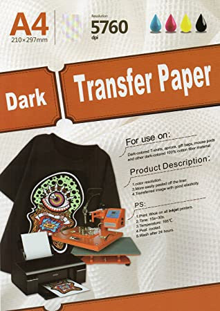 A4 Dark Inkjet Transfer Paper Pack of 10