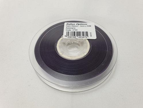 Aubergine Satin Ribbon 3mm x 50m
