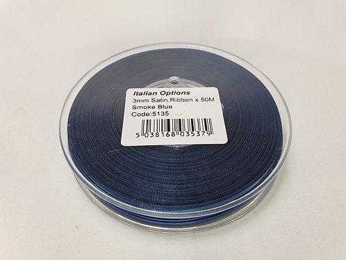 Smoke Blue Satin Ribbon 3mm x 50m