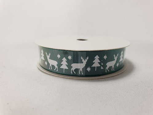 Stag Christmas Crossgrain Ribbon 16mm x 5m Green