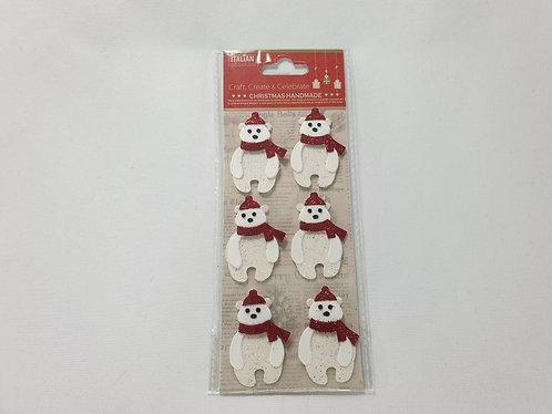 Glitter Polar Bear Christmas Self Adhesive Stickers 6 Pack