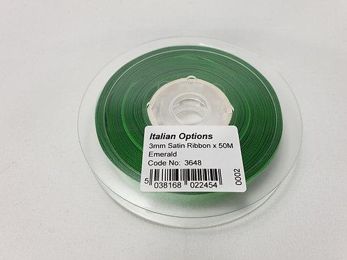Emerald Green Satin Ribbon 3mm x 50m