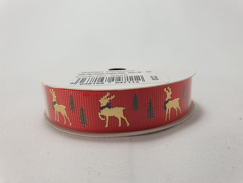 Golden Stag Crossgrain Ribbon 16mm x 5m Red