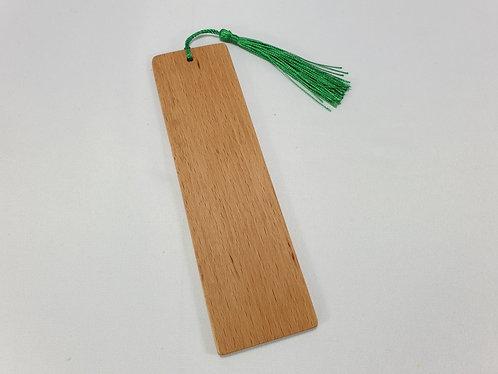 Bookmark in Beech Hardwood with Green Tassel