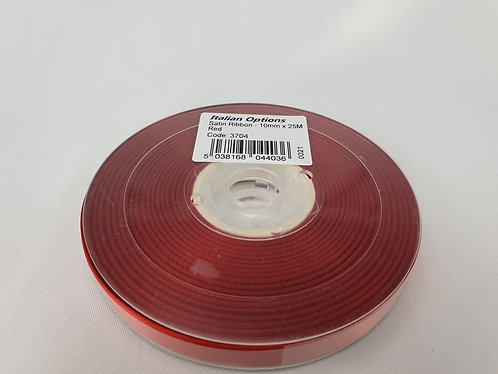 Red Satin Ribbon 10mm x 25m