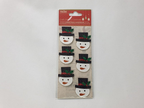 Glitter Snowman Face Christmas Self Adhesive Stickers 6 Pack