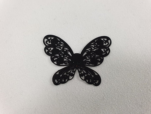 Black metal stencil butterfly Pack of 10