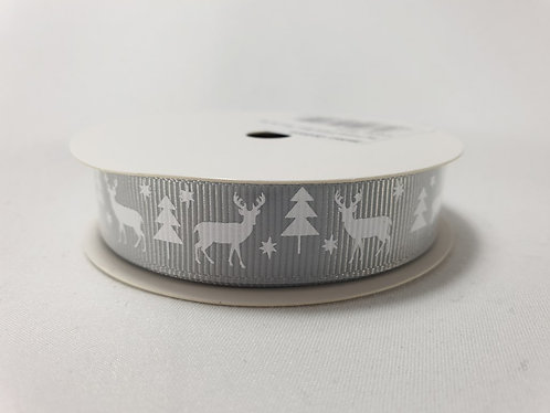 Stag Christmas Crossgrain Ribbon 16mm x 5m Silver