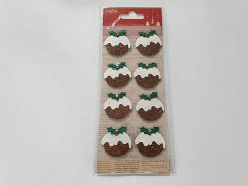 Glitter Christmas Puddings Self Adhesive Stickers 8 Pack