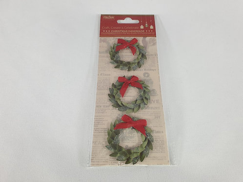 Glitter Wreaths Christmas  Self Adhesive Stickers 3 Pack