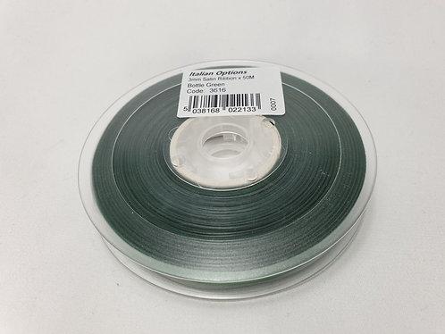 Bottle Green Satin Ribbon 3mm x 50m