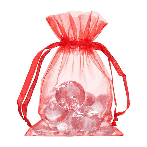 Organza Red Gift Bag 10x15cm 10 Pack