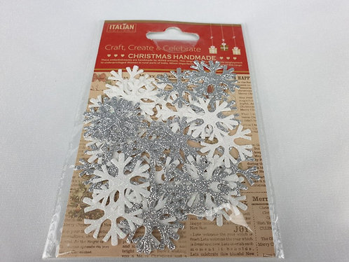 Glitter Snowflakes – Iridescent/Silver (36 Pack)