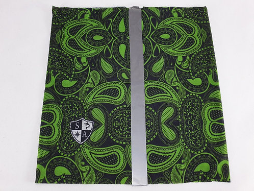 Green Paisley Dog Shield with Reflective Strip