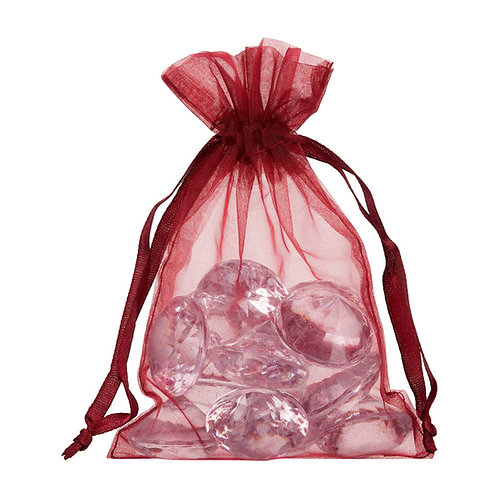 Organza Bordeaux Red Gift Bag 10x15cm 10 Pack