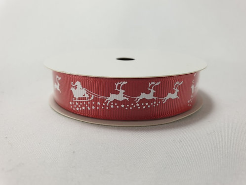 Santa Sled Christmas Crossgrain Ribbon 16mm x 5m Red