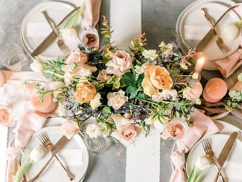 blush peach flower tablescape