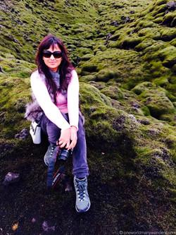 Moss-covered green volcanic fields
