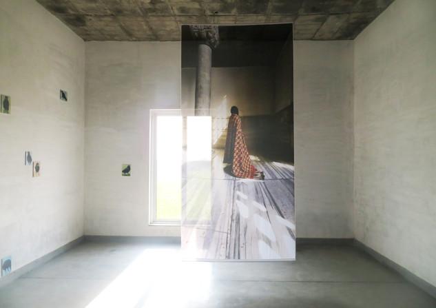 Credit: No one is neutral here (2019), Farwa Moledina, (Digital print on polyester), Lahore Biennale: A Rich Tapestry, Aisha Khalid Studio Gardens, January 2020