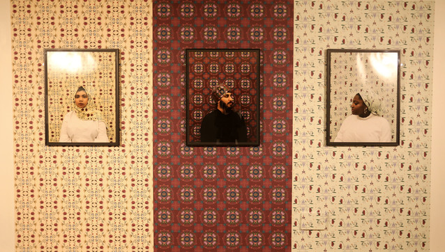 Interwoven, Farwa Moledina, (wallpaper and photographic print), Ways of Belonging, 2018, Midlands Art Centre