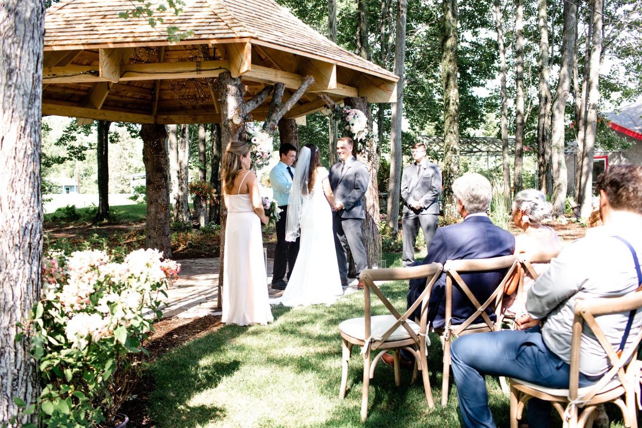 Wedding ceremony in gazebo