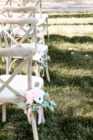 Rustic crossback chairs with ivory cushion