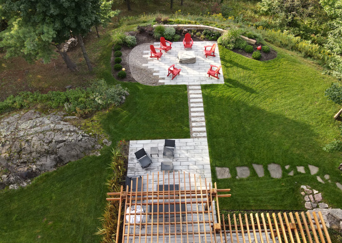 Landscaping after aerial view