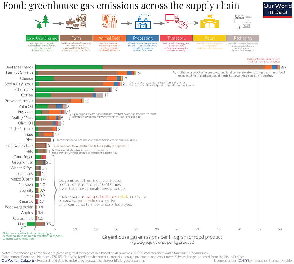 Figure 3: Greenhouse gas emissions across the supply chain (source: Our World in Data)