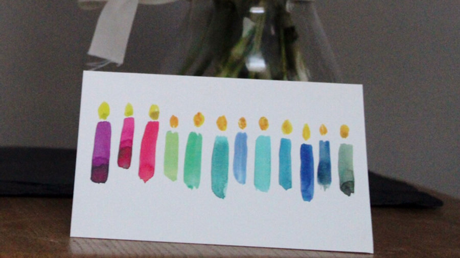Multi-Coloured Candles Card